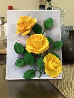 Crepe Paper Flowers Tutorial, Paper Flowers Craft, Flower Crafts, Nylon Flowers, Clay Flowers, Clay Wall Art, Clay Art, Flannel Flower, African Art Paintings