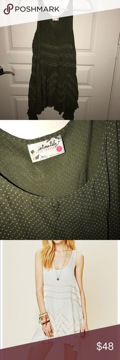 """Free People Tunic Green free people """"trapeze slip"""" with white polka dots💚💚 so cute as a swim cover up!! Size XS--fits like a tunic! Free People Dresses Mini"""