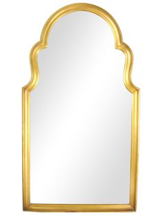 A Mid-Century, gold-tone, Moorish Arch mirror in excellent original finish on composite frame. No maker's mark. Hanging hardware and wire intact.