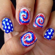 of July Nails! The Very Best Red, White and Blue Nails to Inspire You This Holiday! Fourth of July Nails and Patriotic Nails for your Fingers and Toes! Nail Art Designs 2016, Holiday Nail Designs, Holiday Nail Art, Diy Nail Designs, Pedicure Designs, Firework Nail Art, Tie Dye Nails, Patriotic Nails, Creative Nails