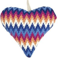 Trendy and colourful, this Blue Bargello Lavender Heart Tapestry Kit features a vibrant zig zag pattern throughout, making it a perfect addition to any room.