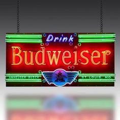 This stunning Budweiser sign dates from the and is extremely rare, principally because the logo incorporates a winged motif. Vintage Neon Signs, Beer Signs, Game Room, 1930s, Logo, Drinks, Lights, Games, Drinking