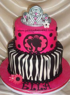 Barbie/Zebra B-Day Cake
