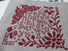 Marjorie Massey cross stitch sampler in redwork