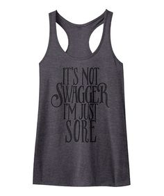 Charcoal Heather 'Swagger' Racerback Tank #zulily #zulilyfinds