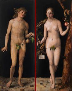 Albrecht Dürer, 'Adam' and 'Eve' ('Adam' und 'Eva'), Oil on panel, 209 x 81 cm and 209 x 80 cm (Museo Nacional del Prado, Madrid). Albrecht Durer, Jan Van Eyck, Hans Holbein, Michelangelo, Hans Baldung Grien, Adam Et Eve, Carl Spitzweg, Kurt Schwitters, Renaissance