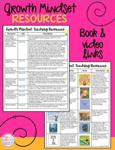 a list of book and video resources about growth mindset to keep handy and use daily in an elementary classroom