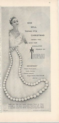 "1953 TRIFARI ""She'll Think It's Christmas"" Rhinestone Clasp Pearl Single Strand Necklace Vintage Costume Jewelry PHOTO Print Advertisement"