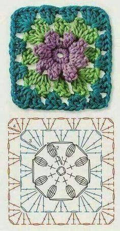 Cómo tejer una bufanda infinita con Grannys Crochet Diagram, Crochet Squares, Granny Squares, Flower Granny Square, Crochet Blocks, Crochet Flowers, Crochet Doilies, Granny Square Crochet Pattern, Crochet Granny