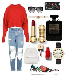 """""""Red"""" by fashionn-foreverrr ❤ liked on Polyvore featuring Topshop, TIBI, Gucci, Versace, Alexander McQueen, Dolce&Gabbana, Kate Spade and Chanel"""