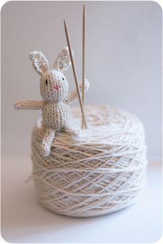 Teeny tiny knitted toys bunny pattern!