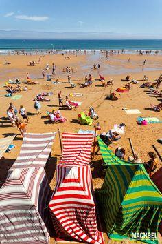 Playa de San Lorenzo Gijón, capital de la costa verde. Asturias, España