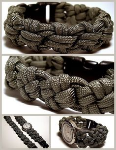 Cross knot variations for a paracord bracelet and watchband.