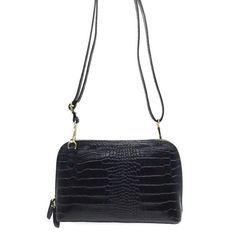 Sac Luna - en cuir effet Crocodile  Noir 43,00 € chez HOWNE Crocodile, Bags, Fashion, Green Leather, Leather Accessories, Purse, Pouch Bag, Objects, Handbags