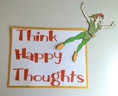Peter Pan Think Happy Thoughts Sign by ThumbtacksAndPaper on Etsy