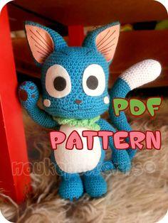 CROCHET-PATTERN: Kitten inspired by Happy (Fairy Tail) Amigurumi ~ **Instructions Only**