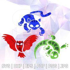Symbol SVG PJ Masks Catboy Owlette Gekko Cricut Silhouette Superhero Birthday Party Supplies Decorations Decal Vinyl Iron on Signs Transfer Superhero Party Supplies, Superhero Birthday Party, Disney Diy, Disney Crafts, Pj Max, Stencil Vinyl, Mask Drawing, Mask Painting, Stencil Templates