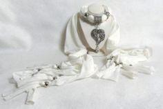 NEW Fashion Jewelry Scarf Necklace Silver HEARTS Pendant Charm Tassel FREE SHIP