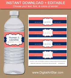 Coral and Navy Water Bottle Labels - Navy and Coral Drink Wrappers - Printable EDITABLE Template - Bridal Shower, Birthday, Wedding Labels by digitalartstar on Etsy https://www.etsy.com/listing/242221425/coral-and-navy-water-bottle-labels-navy