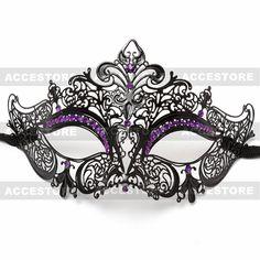 Beautiful Black Laser Cut Metal Venetian Half Face Masquerade Party Mask With Purple Rhinestones on Etsy, $23.95