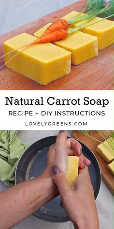 How to make natural carrot soap using the cold-process method. It's simple homemade carrot purée that creates that sunny yellow color soap recipes videos cold process All Natural Carrot Soap Recipe with Real Carrots Handmade Soap Recipes, Soap Making Recipes, Handmade Soaps, Carrot Soap Recipe, Carrot Recipes, Diy Savon, Homemade Beauty Products, Recipes For Beginners, Home Made Soap