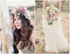 spring wedding flowers // floral crown + bouquet