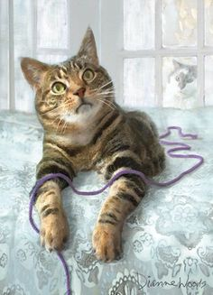 Tabby Cat with Purple String - by Dianne Woods