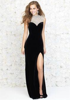 Madison James 15-145 Long High Neck Beaded Slit Prom Dress