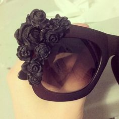DIY black flower sunglasses