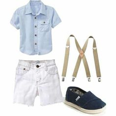 White shorts, blue shirt, suspenders, & blue loafers.