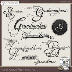 Grandmothers Word Art Pack