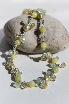 Elegant Olive Green Jade Gemstone with Pearls and Crystal Necklace