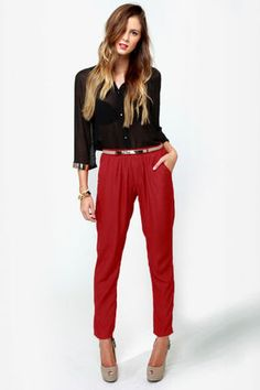 Cute High-Waisted Pants - Red Pants - Woven Pants - $42.00