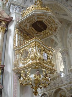 Exquisite rococo architecture inside Polling Monastery in Bavaria, Germany (by Allie_Caulfield)