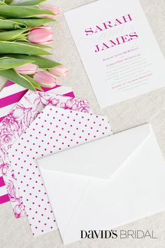 From preppy to boho, find invitations that match your day at invitations.davidsbridal.com.