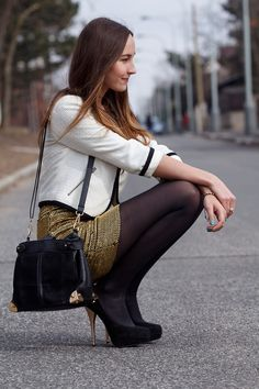 Lucy E., 23 year old student from Prague, Czech Republic wearing black tights, heels, gold sequin skirt and white blazer. http://lookbook.nu/look/4682791-Blazer-Skirt-Heels-Bag-Gold