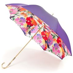 Violet Floral Double Canopy Luxury Umbrella by Pasotti - Brolliesgalore