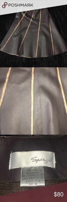 Ginuwine real leather skirt Chocolate brown with light brown strips  Real leather/comes past my knees In good condition Spiegel Skirts Midi