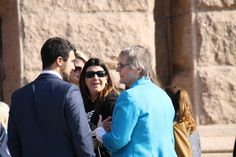 Tomi Grover (right), executive director of TraffickStop, visits with other attendees while waiting for a press conference on human trafficking to begin on the steps of the Texas Capitol on Thursday, Feb. 12, 2015.