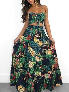 Tropical Print Tube Top&Maxi Skirt Set - Tropical Print Tube Top&Maxi Skirt Set Source by mbilyk - Tropical Party Outfit, Hawaiian Party Outfit, Tropical Vacation Outfits, Tropical Dress, Hawaiian Outfit Women Dresses, Tropical Clothes, Tropical Style, Luau Outfits, Floral Dress Outfits