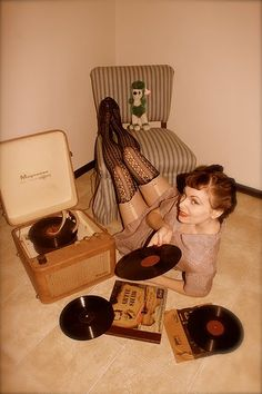 thigh high stocking and vinyl; vintage