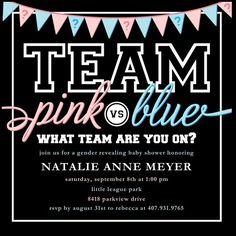 Team Pink vs. Blue: Gender Revelation Party Invitation