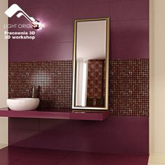 The burgandy tiles make the room come to life with color. A little dark for the whole room but nice concept. Maybe burgandy tile with light grey paint