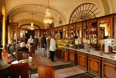 Cafe Gerbeaudis one of the oldest coffee houses in Budapest.