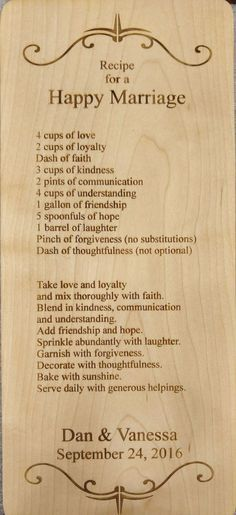 """5.5"""" x 14"""" Maple wood cutting board, bread board or cheese board, engraved with a Recipe for a Happy Marriage and customized with names and a date. Two lines of custom engraving. See example for weddi"""