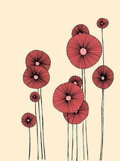 Flowers - Illustration, Print I want to paint a bowl with poppies like this. want to paint a bowl with poppies like this. Art And Illustration, Flower Illustration Pattern, Flower Illustrations, Plant Drawing, Painting & Drawing, Drawing Flowers, Flower Drawings, Poppy Drawing, Motif Floral