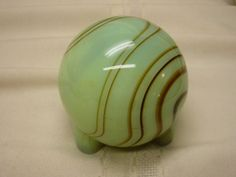 Vintage Akro Agate Glass Lighter Shell ONLY  Paper Weight Round Marble Swirl