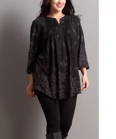 Charcoal Falling Petal Notch Neck Tunic - Plus by Reborn Collection #zulily #zulilyfinds