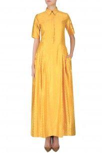 Mango and Gold Floral Embossed Shirt Dress #dress #payalkhandwala #new #cottonbasics #clothing #basics #summervibes #beattheheat #perniaspopupshop #shopnow