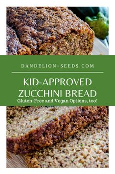 This gluten-free zucchini bread is also grain-free, processed sugar-free, and paleo! With vegan and non-vegan options, there's something for everyone. Zucchini Bread Muffins, Gluten Free Zucchini Bread, Zucchini Bread Recipes, Vegan Gluten Free, Gluten Free Foods, Zucchini Desserts, Yummy Recipes, Healthy Muffin Recipes, Great Recipes